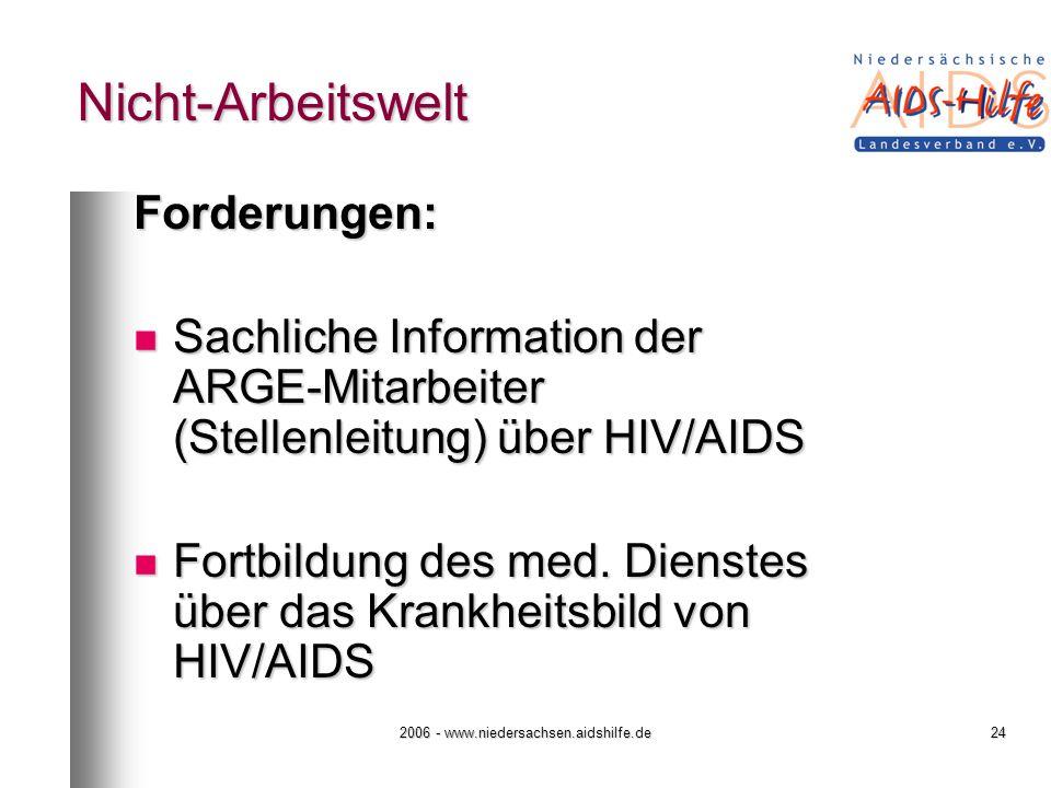 2006 - www.niedersachsen.aidshilfe.de24 Nicht-Arbeitswelt Forderungen: Sachliche Information der ARGE-Mitarbeiter (Stellenleitung) über HIV/AIDS Sachl