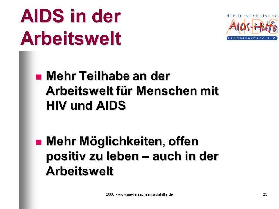2006 - www.niedersachsen.aidshilfe.de25 AIDS in der Arbeitswelt Mehr Teilhabe an der Arbeitswelt für Menschen mit HIV und AIDS Mehr Teilhabe an der Arbeitswelt für Menschen mit HIV und AIDS Mehr Möglichkeiten, offen positiv zu leben – auch in der Arbeitswelt Mehr Möglichkeiten, offen positiv zu leben – auch in der Arbeitswelt