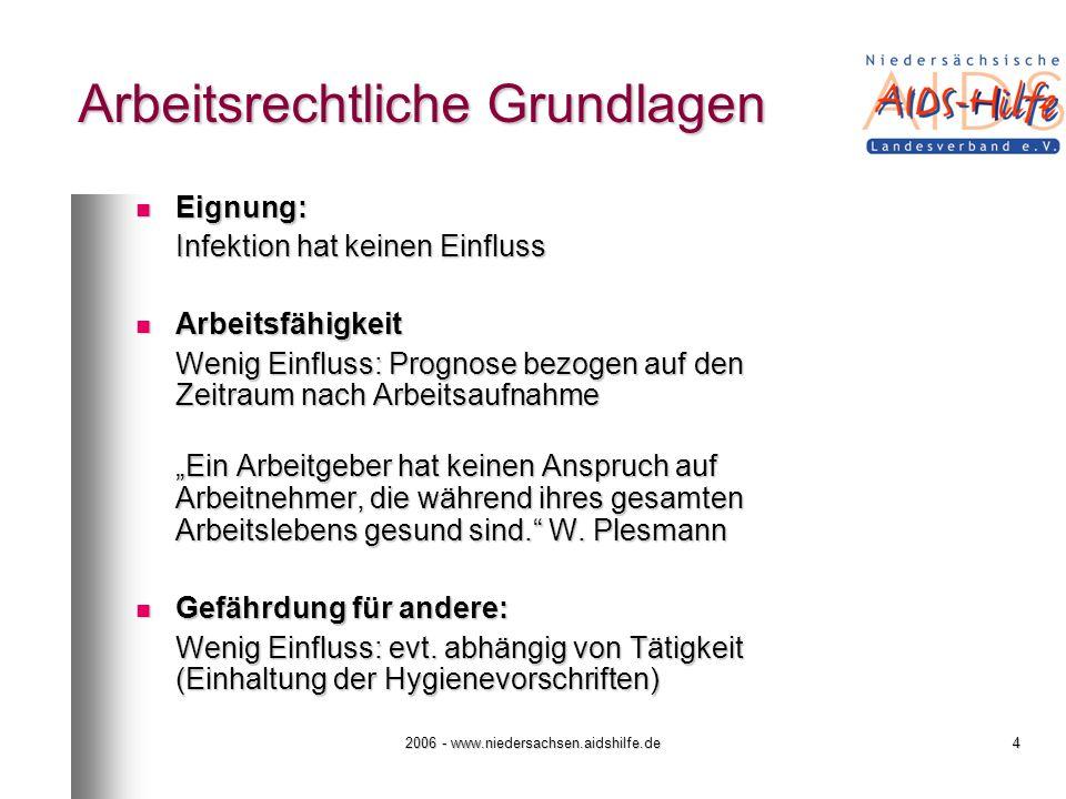 2006 - www.niedersachsen.aidshilfe.de5 Arbeitsrechtliche Grundlagen Ziel / Ergebnis von Einstellungsuntersuchungen: - geeignet oder nicht geeignet - Ziel / Ergebnis von Einstellungsuntersuchungen: - geeignet oder nicht geeignet -
