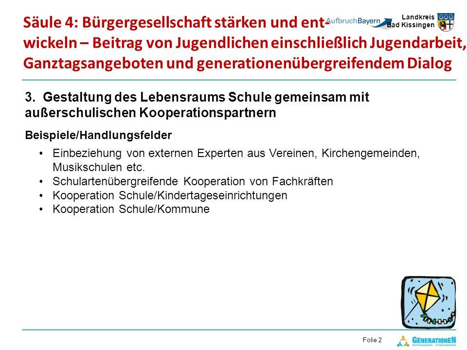 Landkreis Bad Kissingen Folie 2 3. Gestaltung des Lebensraums Schule gemeinsam mit außerschulischen Kooperationspartnern Beispiele/Handlungsfelder Ein