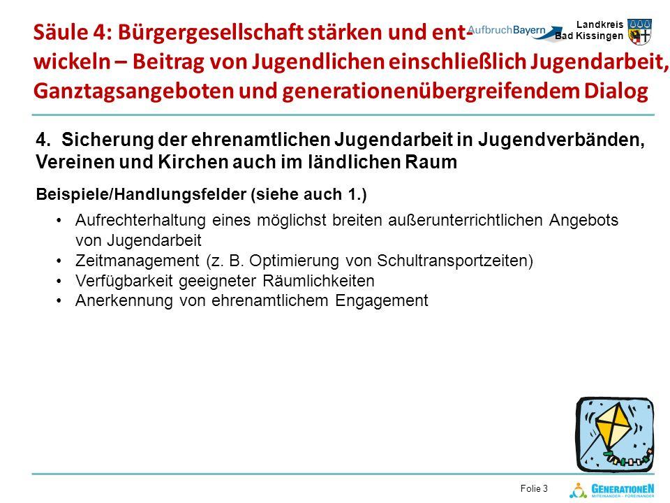 Landkreis Bad Kissingen Folie 3 4. Sicherung der ehrenamtlichen Jugendarbeit in Jugendverbänden, Vereinen und Kirchen auch im ländlichen Raum Beispiel