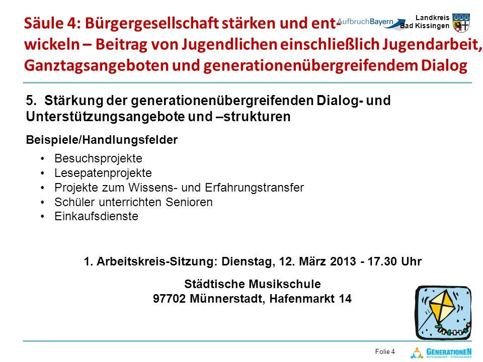 Landkreis Bad Kissingen Folie 4 5. Stärkung der generationenübergreifenden Dialog- und Unterstützungsangebote und –strukturen Beispiele/Handlungsfelde