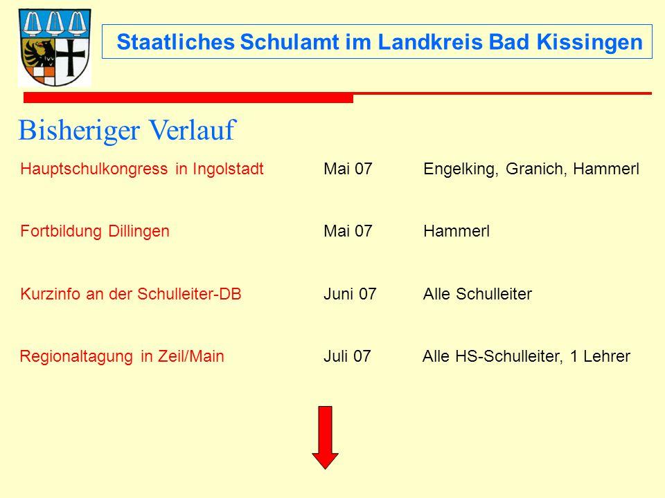 Staatliches Schulamt im Landkreis Bad Kissingen Hauptschulkongress in IngolstadtMai 07Engelking, Granich, Hammerl Fortbildung DillingenMai 07Hammerl K
