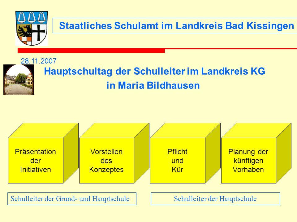 Staatliches Schulamt im Landkreis Bad Kissingen 28.11.2007 Hauptschultag der Schulleiter im Landkreis KG in Maria Bildhausen Präsentation der Initiati