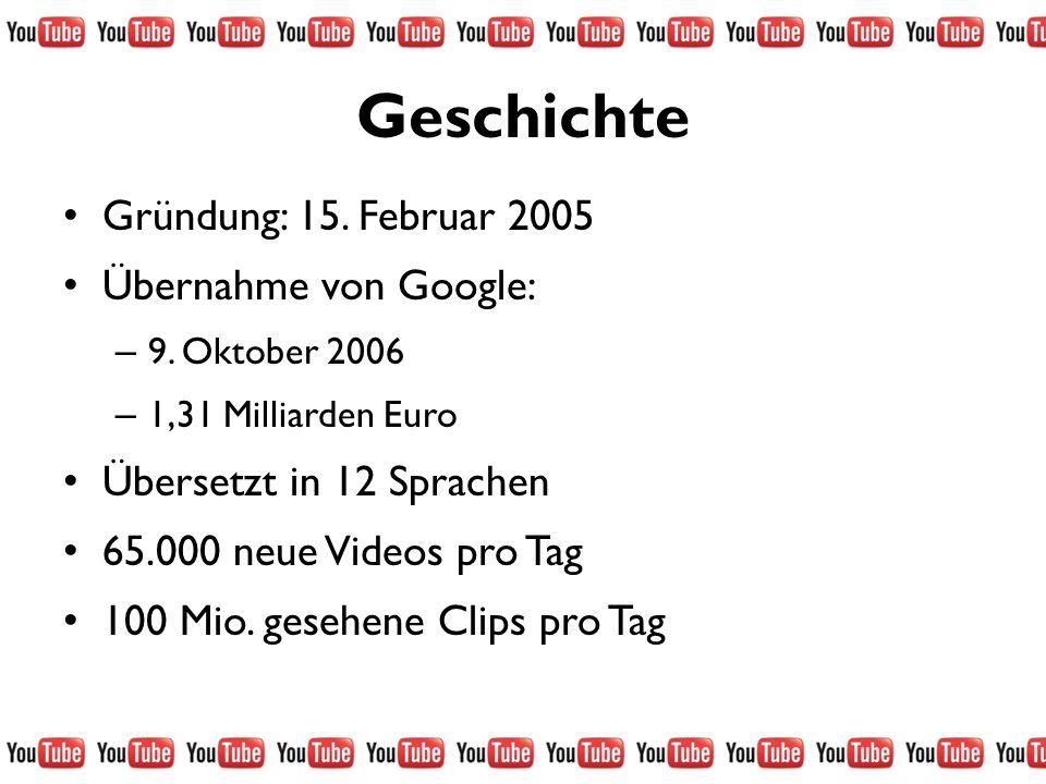 Geschichte Gründung: 15. Februar 2005 Übernahme von Google: – 9. Oktober 2006 – 1,31 Milliarden Euro Übersetzt in 12 Sprachen 65.000 neue Videos pro T