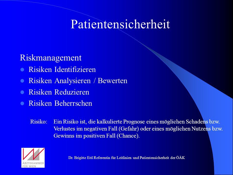 Dr. Brigitte Ettl Referentin für Leitlinien und Patientensicherheit der ÖÄK Riskmanagement Risiken Identifizieren Risiken Analysieren / Bewerten Risik