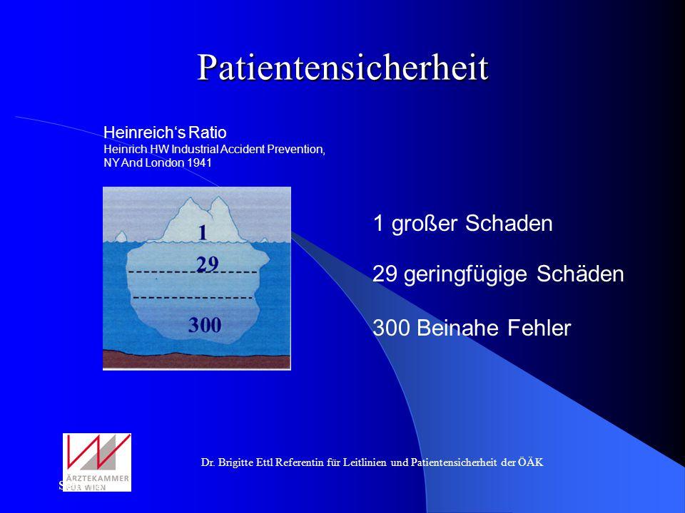 Dr. Brigitte Ettl Referentin für Leitlinien und Patientensicherheit der ÖÄK Seite 18 Patientensicherheit Heinreichs Ratio Heinrich HW Industrial Accid