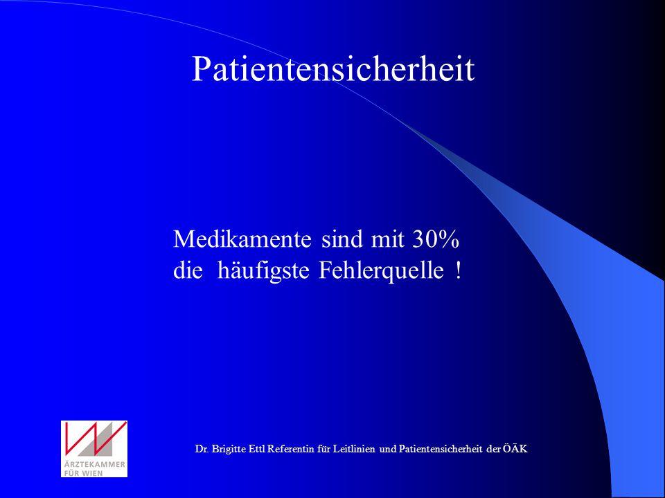 Medikamente sind mit 30% die häufigste Fehlerquelle ! Patientensicherheit
