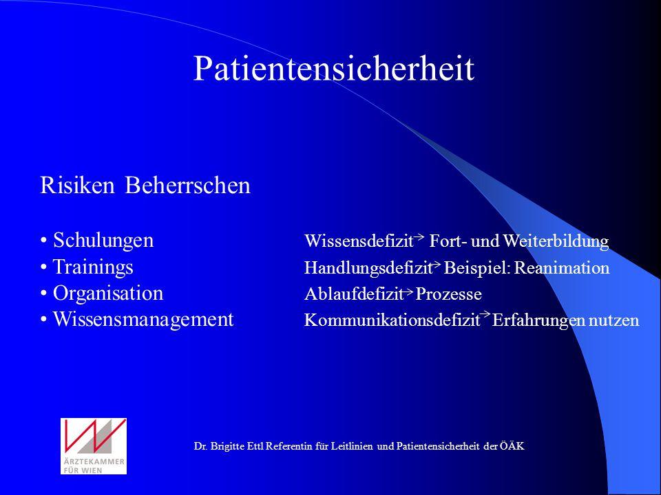 Dr. Brigitte Ettl Referentin für Leitlinien und Patientensicherheit der ÖÄK Patientensicherheit Risiken Beherrschen Schulungen Wissensdefizit Fort- un