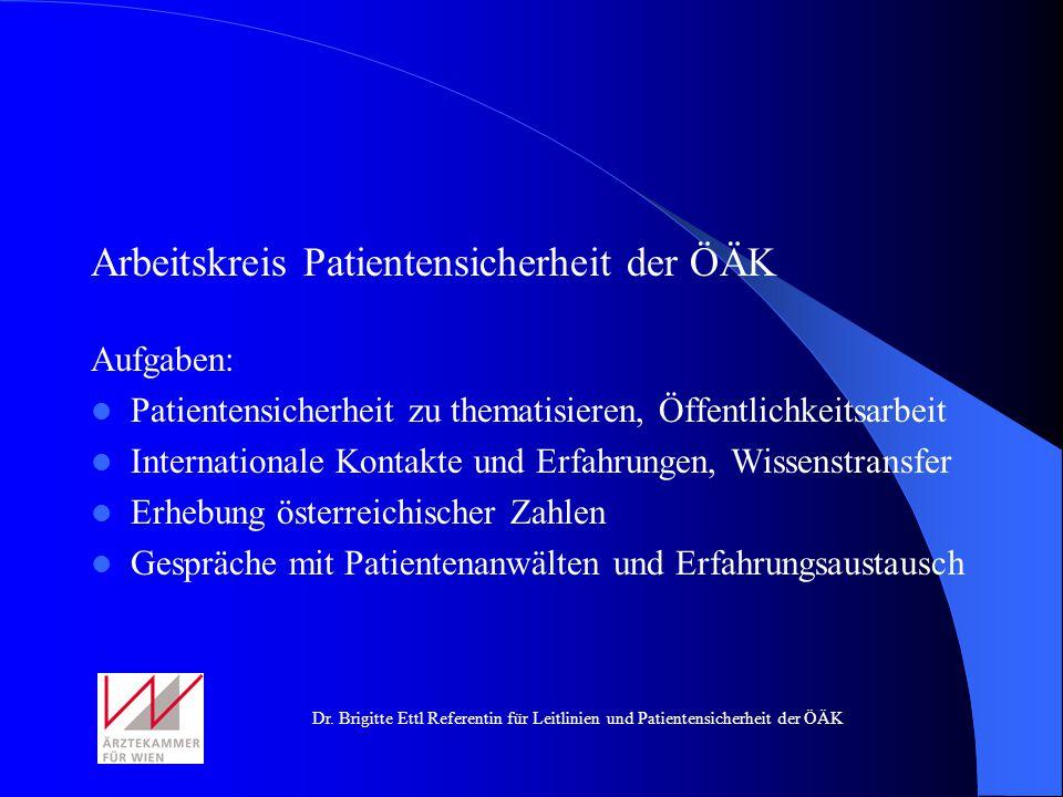 Dr. Brigitte Ettl Referentin für Leitlinien und Patientensicherheit der ÖÄK Arbeitskreis Patientensicherheit der ÖÄK Aufgaben: Patientensicherheit zu