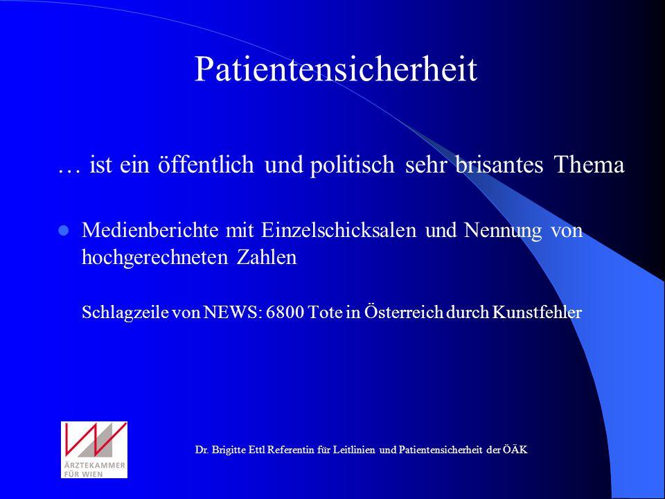 Dr. Brigitte Ettl Referentin für Leitlinien und Patientensicherheit der ÖÄK … ist ein öffentlich und politisch sehr brisantes Thema Medienberichte mit