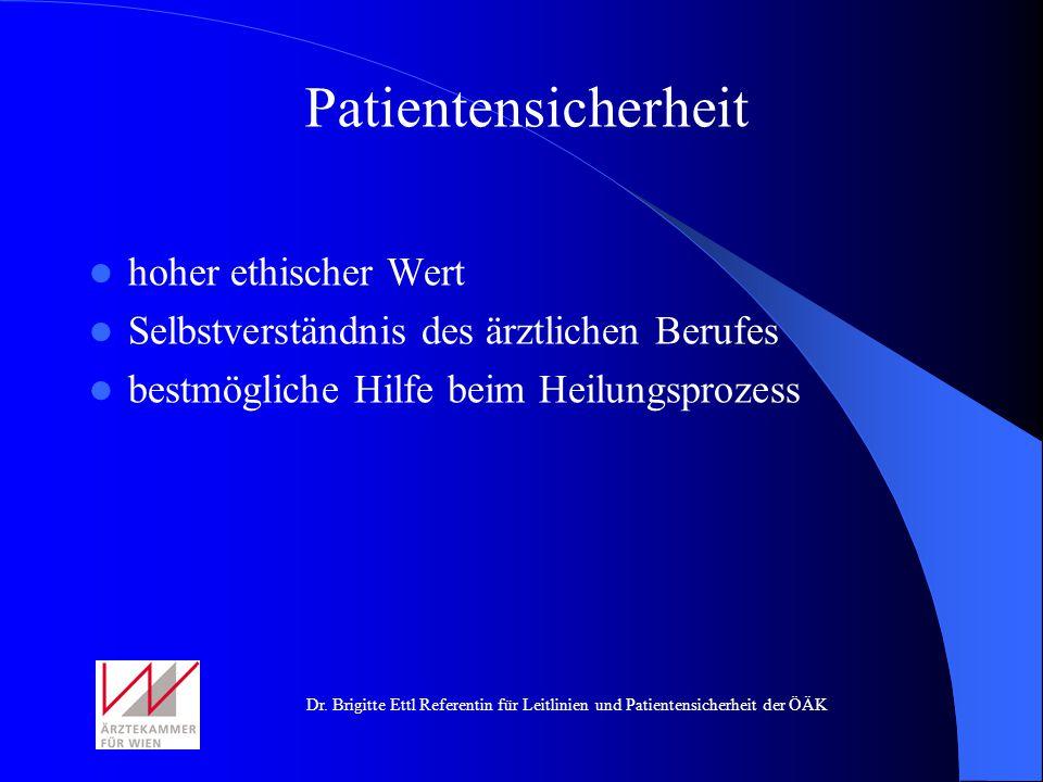 Dr. Brigitte Ettl Referentin für Leitlinien und Patientensicherheit der ÖÄK Patientensicherheit hoher ethischer Wert Selbstverständnis des ärztlichen