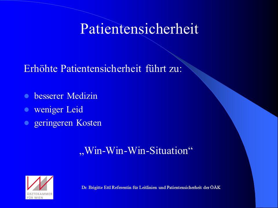 Dr. Brigitte Ettl Referentin für Leitlinien und Patientensicherheit der ÖÄK Erhöhte Patientensicherheit führt zu: besserer Medizin weniger Leid gering
