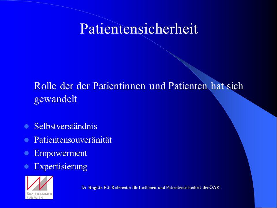 Dr. Brigitte Ettl Referentin für Leitlinien und Patientensicherheit der ÖÄK Rolle der der Patientinnen und Patienten hat sich gewandelt Selbstverständ