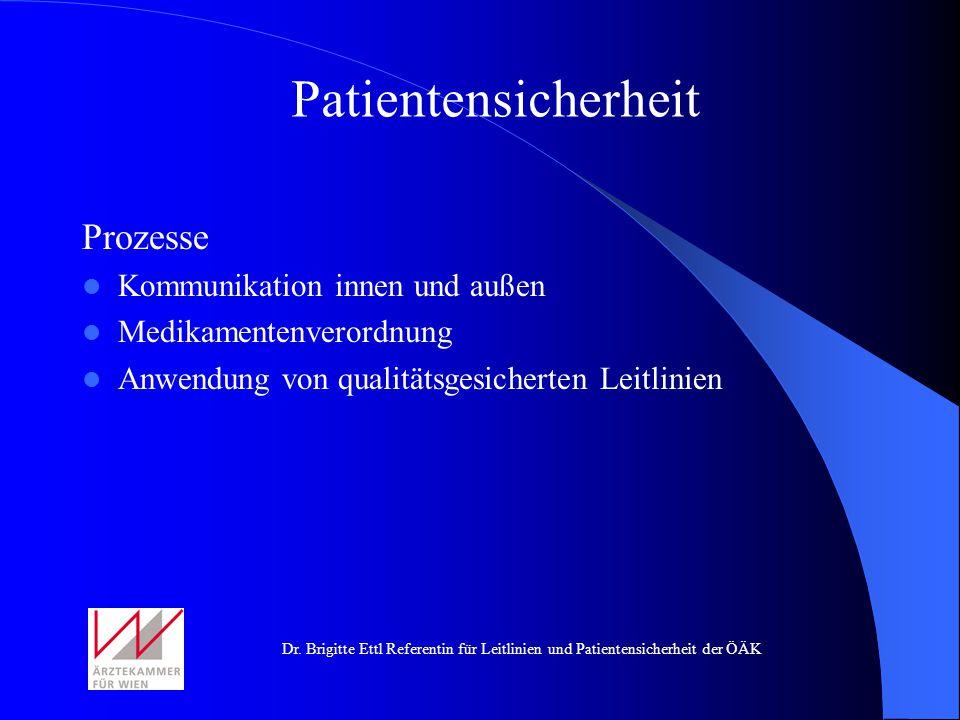 Dr. Brigitte Ettl Referentin für Leitlinien und Patientensicherheit der ÖÄK Prozesse Kommunikation innen und außen Medikamentenverordnung Anwendung vo