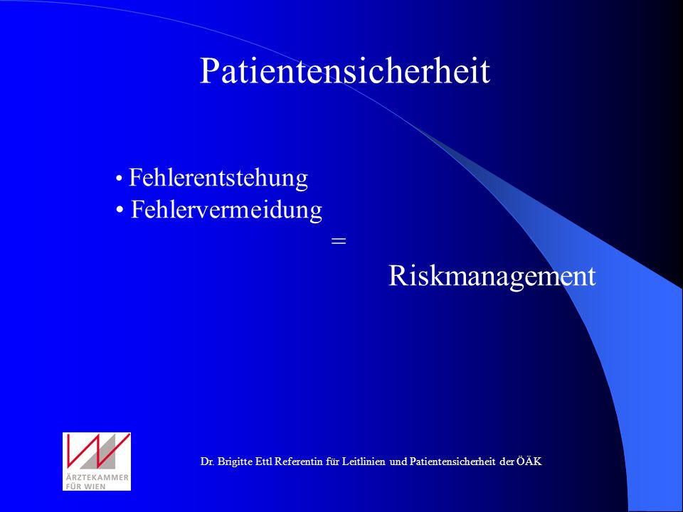 Dr. Brigitte Ettl Referentin für Leitlinien und Patientensicherheit der ÖÄK Patientensicherheit Fehlerentstehung Fehlervermeidung = Riskmanagement
