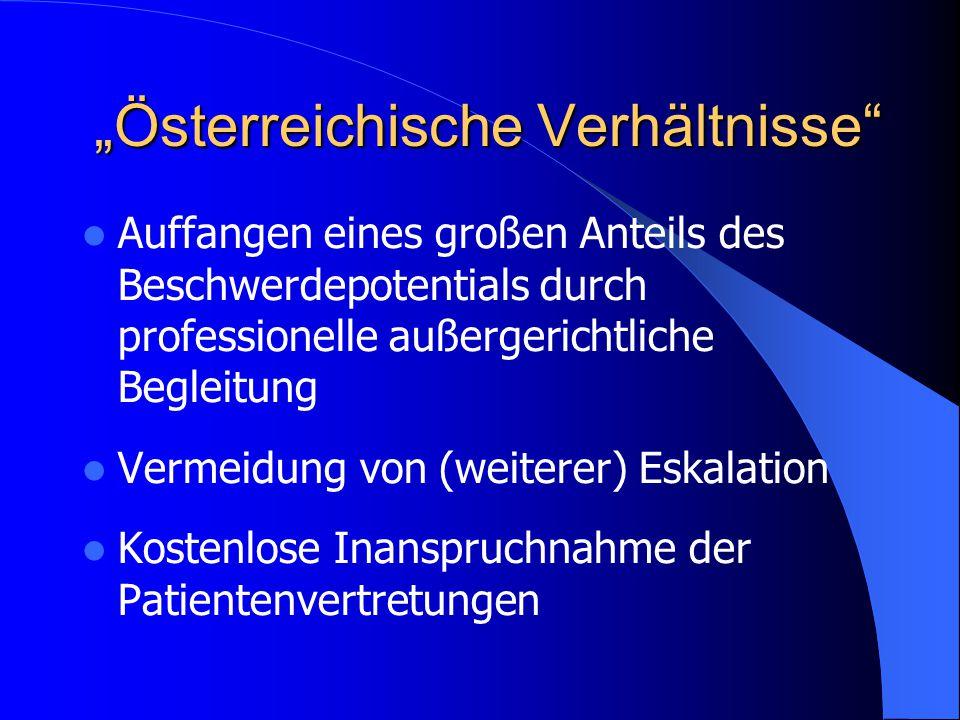 Auffangen eines großen Anteils des Beschwerdepotentials durch professionelle außergerichtliche Begleitung Vermeidung von (weiterer) Eskalation Kostenlose Inanspruchnahme der Patientenvertretungen Österreichische Verhältnisse