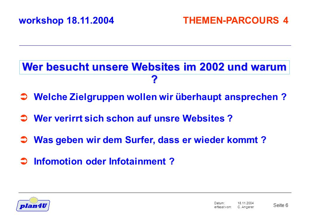 18.11.2004 C. Angerer Seite 6 Datum: erfasst von: Wer besucht unsere Websites im 2002 und warum .