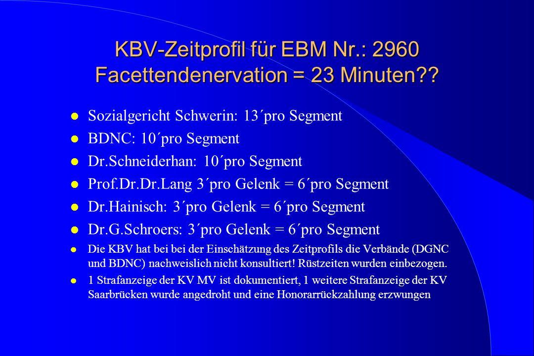 KBV-Zeitprofil für EBM Nr.: 2960 Facettendenervation = 23 Minuten?? l Sozialgericht Schwerin: 13´pro Segment l BDNC: 10´pro Segment l Dr.Schneiderhan: