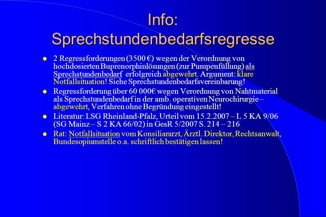 Info: Sprechstundenbedarfsregresse l 2 Regressforderungen (3500 ) wegen der Verordnung von hochdosierten Buprenorphinlösungen (zur Pumpenfüllung) als