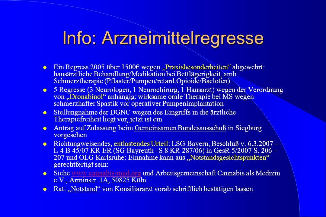 Info: Arzneimittelregresse l Ein Regress 2005 über 3500 wegen Praxisbesonderheiten abgewehrt: hausärztliche Behandlung/Medikation bei Bettlägerigkeit,