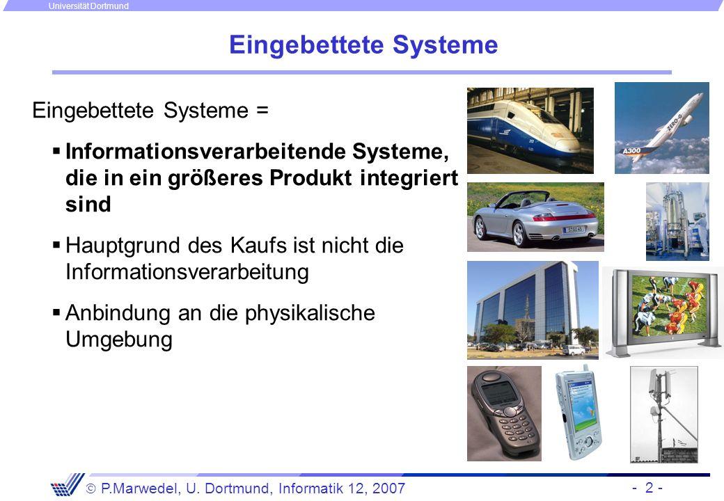 - 2 - P.Marwedel, U. Dortmund, Informatik 12, 2007 Universität Dortmund Eingebettete Systeme Eingebettete Systeme = Informationsverarbeitende Systeme,