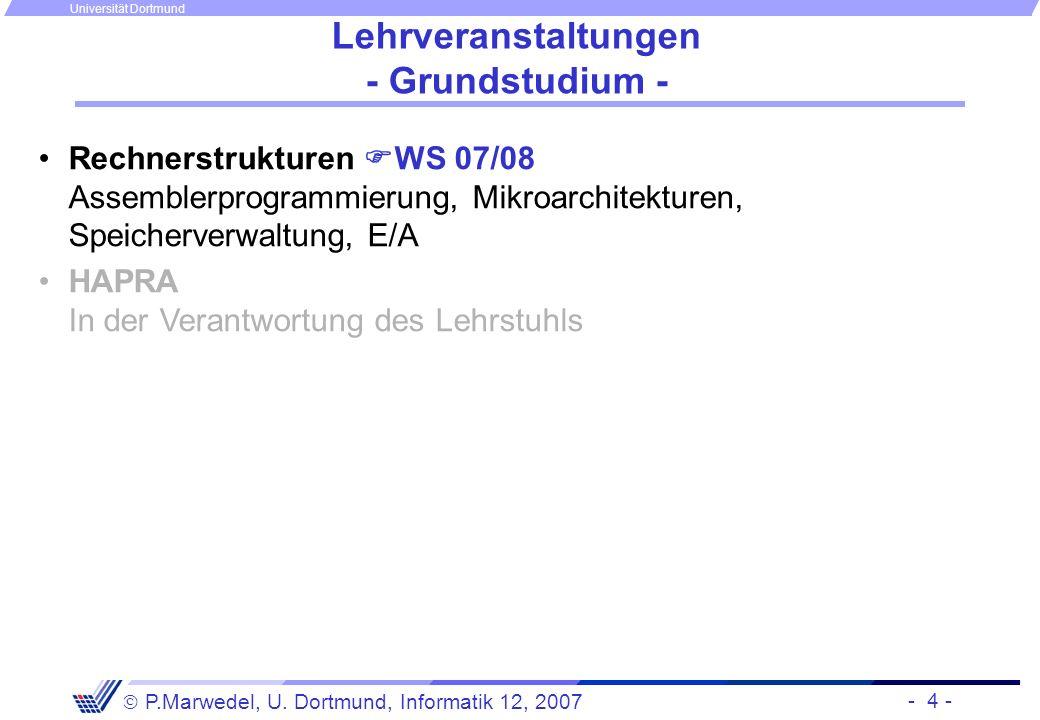 - 4 - P.Marwedel, U. Dortmund, Informatik 12, 2007 Universität Dortmund Lehrveranstaltungen - Grundstudium - Rechnerstrukturen WS 07/08 Assemblerprogr