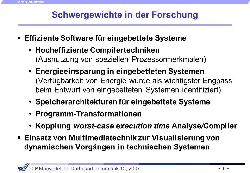 - 8 - P.Marwedel, U. Dortmund, Informatik 12, 2007 Universität Dortmund Schwergewichte in der Forschung Effiziente Software für eingebettete Systeme H
