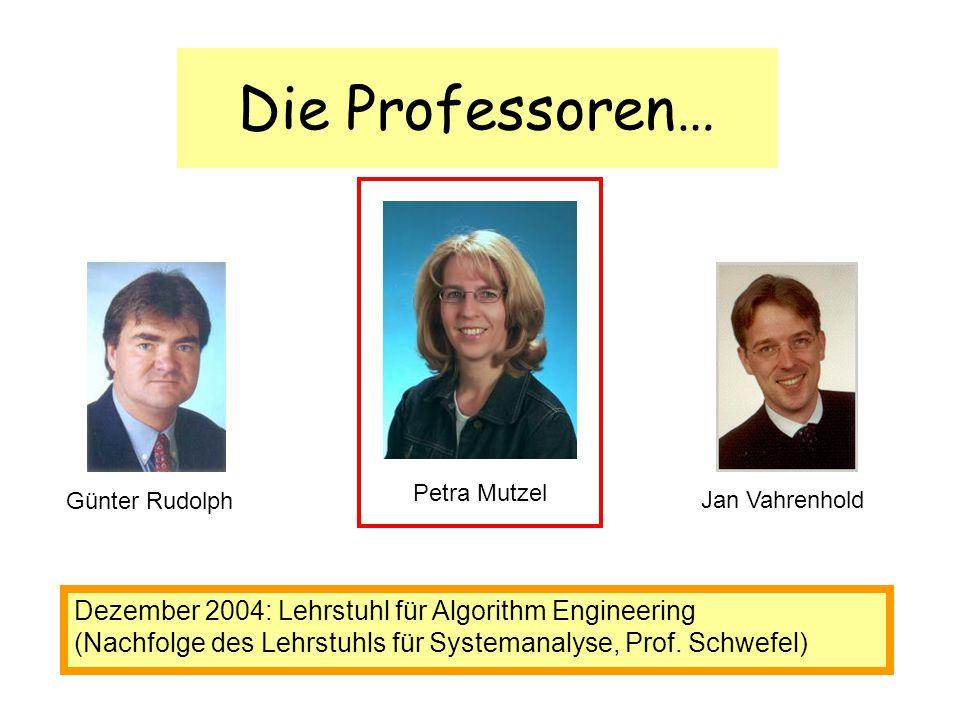 Die Professoren… Günter Rudolph Petra Mutzel Jan Vahrenhold Dezember 2004: Lehrstuhl für Algorithm Engineering (Nachfolge des Lehrstuhls für Systemana