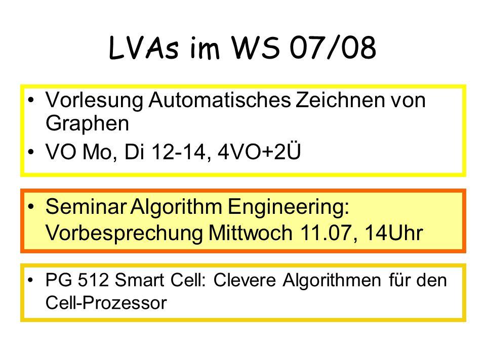 Seminar Algorithm Engineering: Vorbesprechung Mittwoch 11.07, 14Uhr LVAs im WS 07/08 Vorlesung Automatisches Zeichnen von Graphen VO Mo, Di 12-14, 4VO