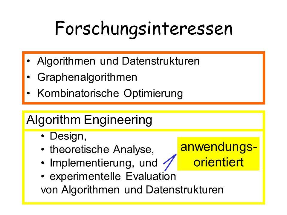 Anwendungsbereiche Automatisches Zeichnen von Graphen –Kreuzungsminimierung –Planare Zeichenverfahren Molekulare Bioinformatik –Sequenzanalyse (Sequenzenalignierung) –Proteinanalyse (Suffix Arrays, Graphprobleme)