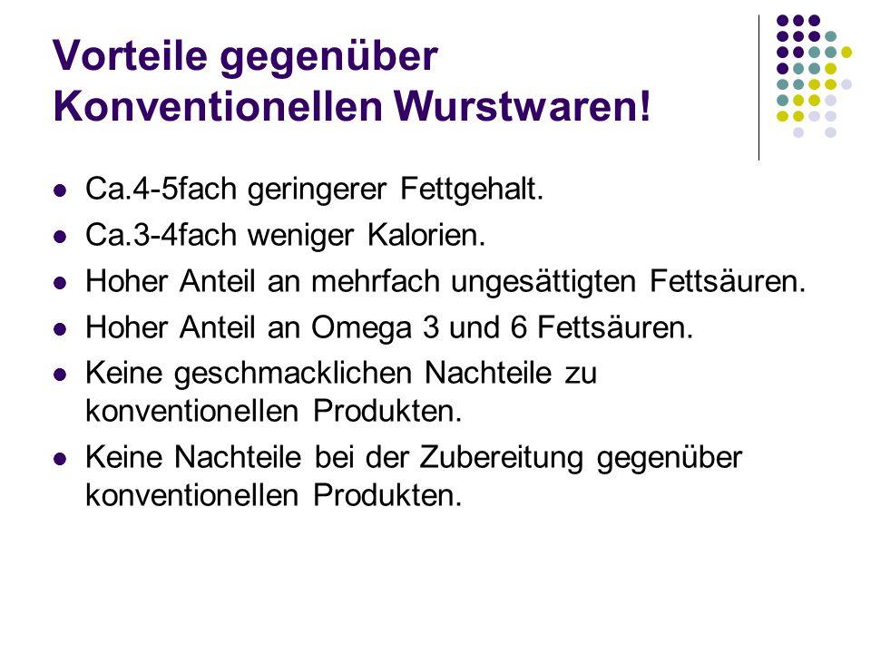Vorteile gegenüber Konventionellen Wurstwaren.Ca.4-5fach geringerer Fettgehalt.