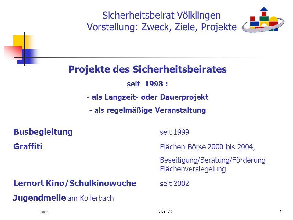 2009 Sibei VK 11 Sicherheitsbeirat Völklingen Vorstellung: Zweck, Ziele, Projekte Projekte des Sicherheitsbeirates seit 1998 : - als Langzeit- oder Da