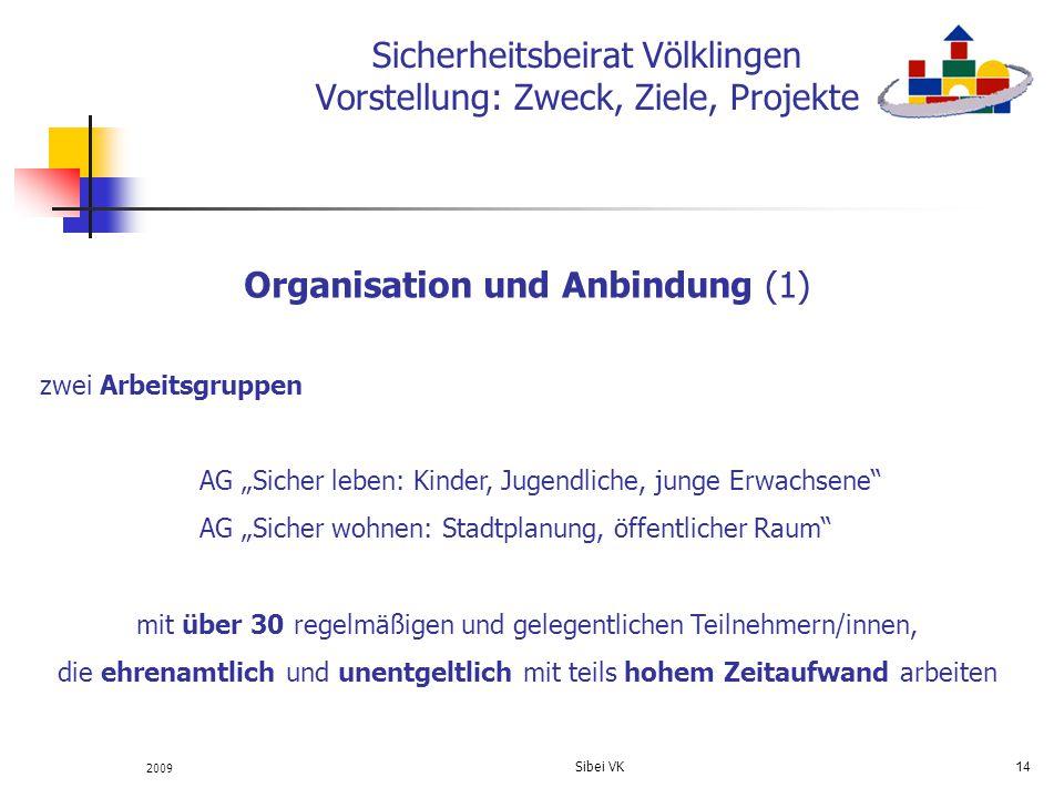2009 Sibei VK 14 Sicherheitsbeirat Völklingen Vorstellung: Zweck, Ziele, Projekte Organisation und Anbindung (1) zwei Arbeitsgruppen AG Sicher leben: