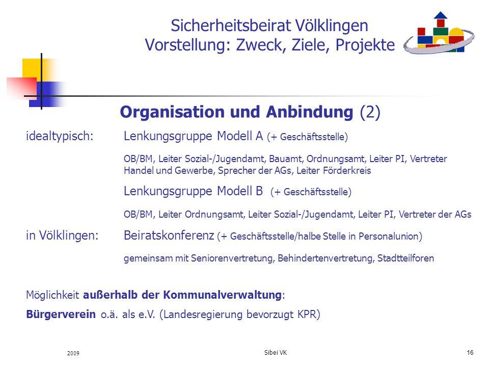 2009 Sibei VK 16 Sicherheitsbeirat Völklingen Vorstellung: Zweck, Ziele, Projekte Organisation und Anbindung (2) idealtypisch: Lenkungsgruppe Modell A