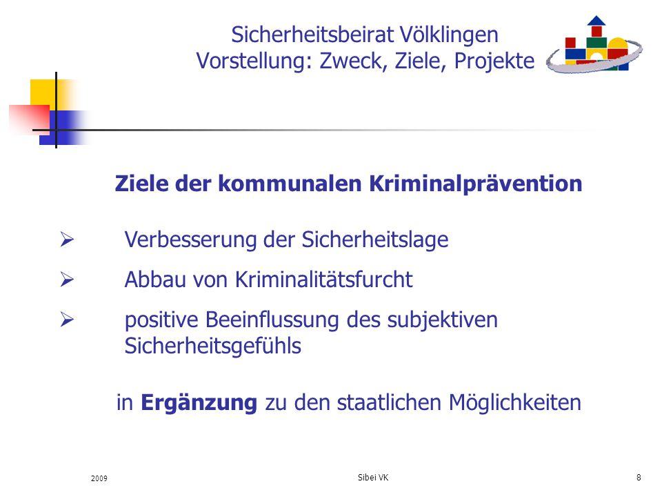 2009 Sibei VK 8 Sicherheitsbeirat Völklingen Vorstellung: Zweck, Ziele, Projekte Ziele der kommunalen Kriminalprävention Verbesserung der Sicherheitsl