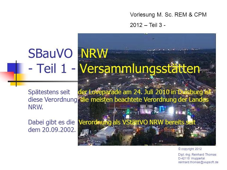 SBauVO NRW - Teil 1 - Versammlungsstätten Vorlesung M.