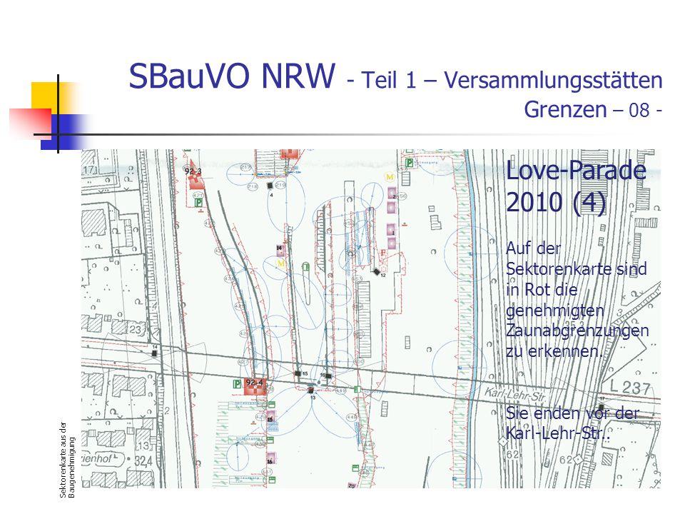 SBauVO NRW - Teil 1 – Versammlungsstätten Grenzen – 08 - Sektorenkarte aus der Baugenehmigung Love-Parade 2010 (4) Auf der Sektorenkarte sind in Rot die genehmigten Zaunabgrenzungen zu erkennen.