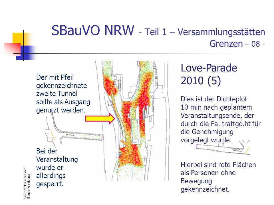 SBauVO NRW - Teil 1 – Versammlungsstätten Grenzen – 08 - Sektorenkarte aus der Baugenehmigung Love-Parade 2010 (5) Dies ist der Dichteplot 10 min nach geplantem Veranstaltungsende, der durch die Fa.