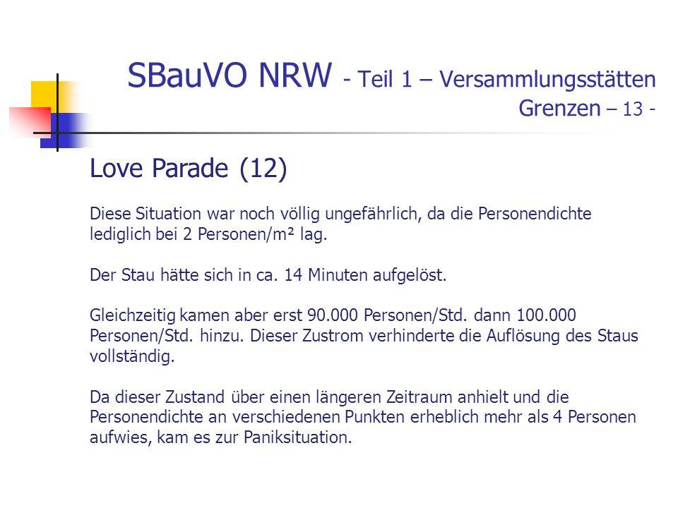 SBauVO NRW - Teil 1 – Versammlungsstätten Grenzen – 13 - Love Parade (12) Diese Situation war noch völlig ungefährlich, da die Personendichte lediglich bei 2 Personen/m² lag.