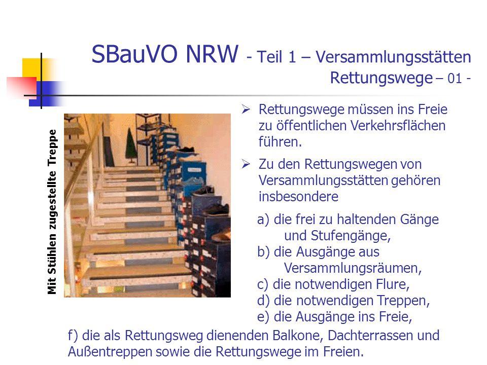 SBauVO NRW - Teil 1 – Versammlungsstätten Rettungswege – 01 - Rettungswege müssen ins Freie zu öffentlichen Verkehrsflächen führen.