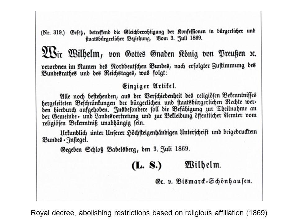 Royal decree, abolishing restrictions based on religious affiliation (1869)