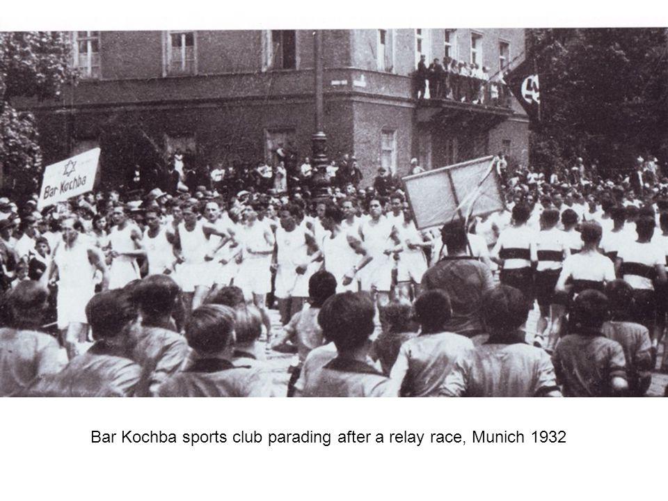 Bar Kochba sports club parading after a relay race, Munich 1932