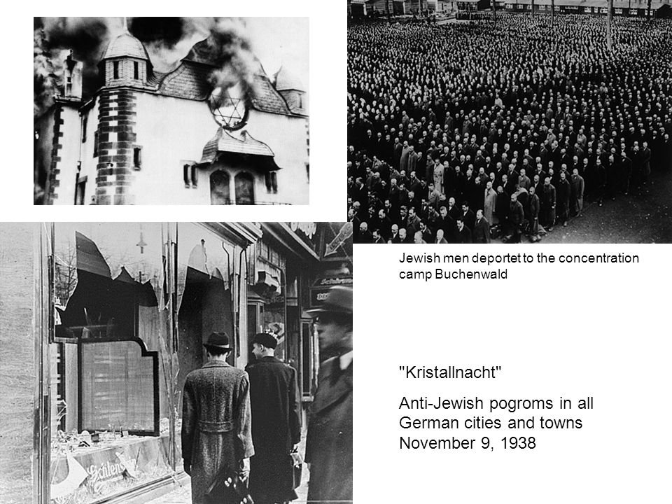 Kristallnacht Anti-Jewish pogroms in all German cities and towns November 9, 1938 Jewish men deportet to the concentration camp Buchenwald