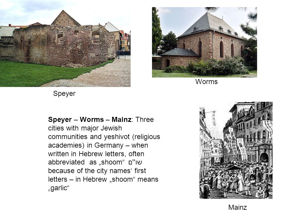 Speyer – Worms – Mainz: Three cities with major Jewish communities and yeshivot (religious academies) in Germany – when written in Hebrew letters, often abbreviated as shoom שו ם because of the city names first letters – in Hebrew shoom means garlic Mainz Speyer Worms