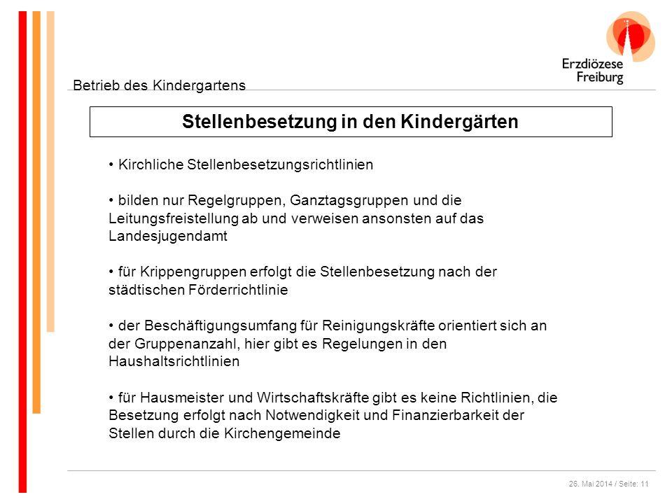 26. Mai 2014 / Seite: 11 Stellenbesetzung in den Kindergärten Betrieb des Kindergartens Kirchliche Stellenbesetzungsrichtlinien bilden nur Regelgruppe