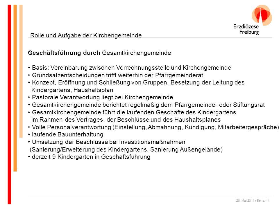 26. Mai 2014 / Seite: 14 Rolle und Aufgabe der Kirchengemeinde Geschäftsführung durch Gesamtkirchengemeinde Basis: Vereinbarung zwischen Verrechnungss