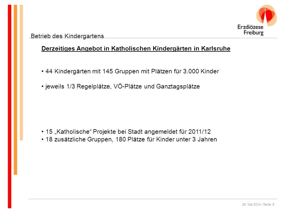 26. Mai 2014 / Seite: 9 Betrieb des Kindergartens Derzeitiges Angebot in Katholischen Kindergärten in Karlsruhe 44 Kindergärten mit 145 Gruppen mit Pl
