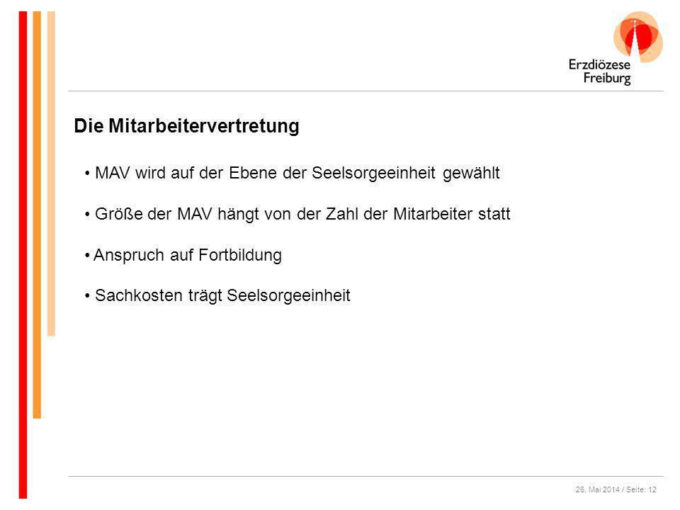 26. Mai 2014 / Seite: 12 Die Mitarbeitervertretung MAV wird auf der Ebene der Seelsorgeeinheit gewählt Größe der MAV hängt von der Zahl der Mitarbeite