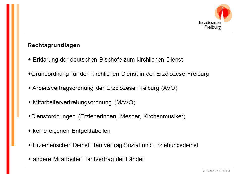 26. Mai 2014 / Seite: 3 Rechtsgrundlagen Erklärung der deutschen Bischöfe zum kirchlichen Dienst Grundordnung für den kirchlichen Dienst in der Erzdiö